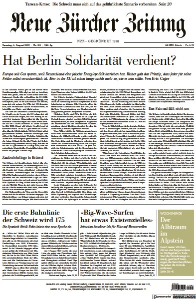 Read full digital edition of Neue Zurcher Zeitung Swiss Edition newspaper from Switzerland