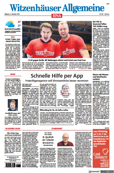 Read full digital edition of HNA Witzenhaeuser Allgemeine newspaper from Germany