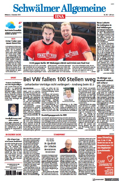 Read full digital edition of HNA Schwaelmer Allgemeine newspaper from Germany