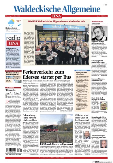 Read full digital edition of HNA Waldeckische Allgemeine newspaper from Germany