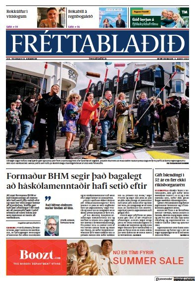 Read full digital edition of Frettabladid newspaper from Iceland