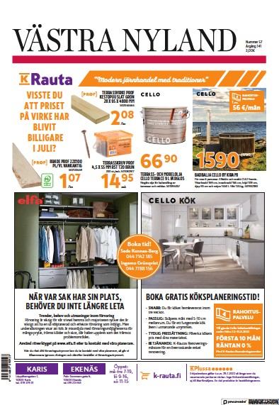 Read full digital edition of Vastra Nyland newspaper from Finland