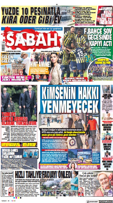 Read full digital edition of Sabah newspaper from Turkey