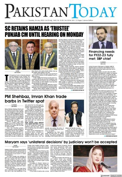 Read full digital edition of Pakistan Today (Lahore) newspaper from Pakistan