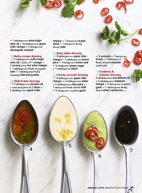 ... 1 tablespoon finely sliced coriander (optional) 7 Cranberry & balsamic  dressing 2 tablespoons macadamia oil + 6 tablespoons balsamic vinegar + ½  ...