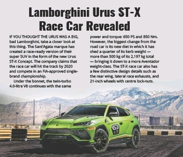 Pressreader Car India 2018 12 10 Lamborghini Urus St X Race Car