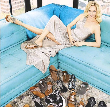 """43ff7422a92 Actress Uma Thurman wears the latest collection from FitFlop. She s the  first celebrity ambassador as the brand celebrates its 10th year with the  campaign """" ..."""