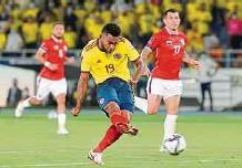 ?? EFE ?? Miguel Borja fue la figura de la selección Colombia en la reciente jornada de las Eliminatorias tras marcar doblete ante Chile.