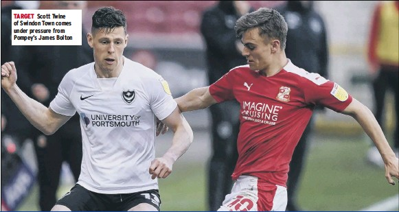 ??  ?? TARGET Scott Twine of Swindon Town comes under pressure from Pompey's James Bolton