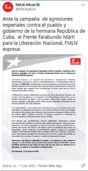 ??  ?? Tuit. El partido emitió un comunicado el fin de semana por las acciones en Cuba.