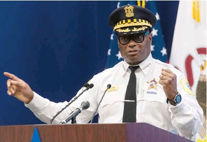 ?? TYLER LARIVIERE/SUN-TIMES ?? Police Supt. David Brown addresses the rise in carjackings, including some involving teens, earlier this month.