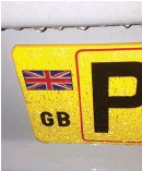 ??  ?? ABOVE RIGHT A GB sticker or a number plate with GB or GB with the union flag must now be used