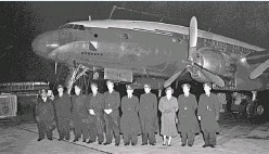 ??  ?? KLM's first flight between Amsterdam and Manila before departure from Amsterdam Schiphol Airport on December 4, 1951. This flight was the first regular scheduled service between Amsterdam and Tokyo. The Lockheed Constellation (L749) took 60 hours to...