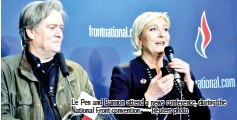 ??  ?? Le Pen and Bannon attend a news conference, during the National Front convention. — Reuters photo