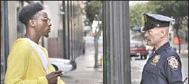 """?? ShortsTV ?? JOEY BADASS, left, gets killed over and over by the same police officer (Andrew Howard) in the Oscar-nominated live-action short """"Two Distant Strangers."""""""