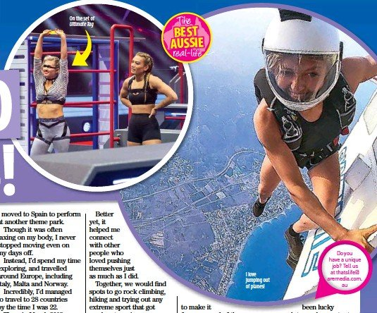 ??  ?? On the set of Ultimate Tag I love jumping out of planes!