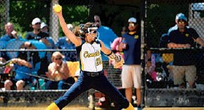 ??  ?? Catonsville senior pitcher Sammi Sisolak tossed a shutout in Friday's Class 4A state championship game against North County at Bachman Sports Complex.