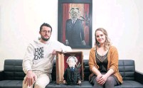 ??  ?? Tyson Moll and Shannon Kupfer with their multisensory project and Otto Dix's Portrait of Dr. Heinrich Stadelmann.