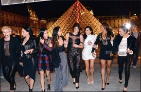 ??  ?? eYeful: Bride-to-be Kim Kardashian and friends outside the Louvre in Paris, where the reality star's hen party also took in the Eiffel Tower