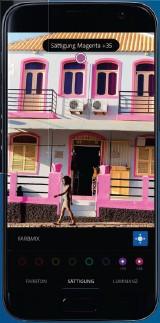 ??  ?? Farbspiele: Lightroom ändert am Handy gezielt den angetippten Farbton, hier das Rosader Hausfassade.