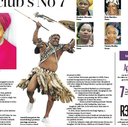 ?? Picture: Simphiwe Nkwali ?? Jacob Zuma gets in the mood during a previous marriage ceremony. Nompumelelo NtuliZuma Tobeka MadibaZuma
