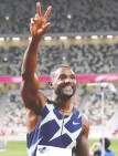 ?? GETTY IMAGES ?? American Justin Gatlin won the men's 100-metre final during the Ready Steady Tokyo — Athletics Olympic test event.