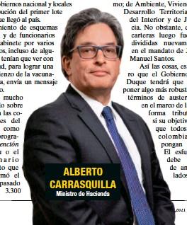 ??  ?? ALBERTO CARRASQUILLA Ministro de Hacienda