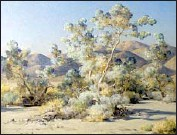 """?? Palm Springs Art Museum ?? IN """"SMOKE TREES IN A DRAW"""" (circa 1950), Pelton paints not just the plants but the atmosphere."""