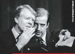 ??  ?? Con el presidente Jimmy Carter durante un mitin de recaudo de fondos para la reelección de Biden al Senado, en Wilmington.