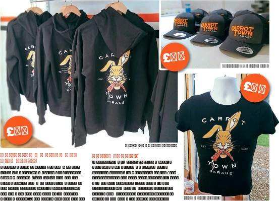 ??  ?? Carrot Town Garage hoodie. Jack Rabbit T-shirt. Carrot Town Garage cap.