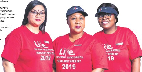??  ?? Chantal Reddy, Slindo Buthelezi and Buyi Mthiyane represented the Life Empangeni Private Hospital