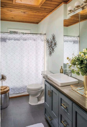 ??  ?? ABOVE RIGHT: A CLASSIC BATHROOM LOOKS CLEAN AND POLISHED WITH MATTE GRAY CERAMIC FLOOR TILE, A STORAGE STOOL, IKEA MEDICINE CABINET AND BRUTALIST WALL ART.