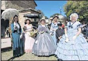 ?? PHOTO: Coral Cooksley ?? GRACEFUL: Beth Jeffcott (left), Helen Freeman, Heidi Freeman, Sarah Lockwood, Sonni Te Moananui and Ute Jeffcott chatted to tourists and locals in the heritage precinct on Easter Saturday at the Golden Horse Shoes Festival.