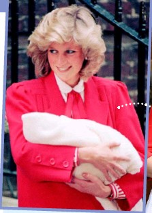 ??  ?? In a sweet tribute to her late mother-in- law Diana, Princess of Wales, Kate wore a red dress to present her second son, as did Diana when she presented Prince Harry to the public.