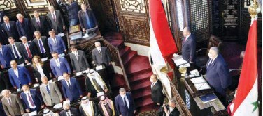 ?? Reuters ?? ↑ Syria's parliament convenes to discuss presidential election in Damascus on Sunday.
