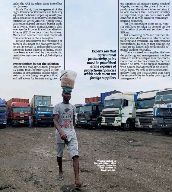 ??  ?? Trucks parked in Maradi, Niger, after Nigeria closed its land borders to trade in 2019.