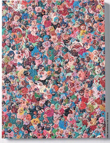 ??  ?? Zhang Huan's Zhang's new solo show 'Poppy Fields', at Pace Gallery in New York, will be a showcase for the artist's brightly coloured paintings of skulls, a shift from his sombre tones of earlier years.