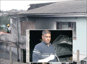 ?? Picture: NQOBILE MBONAMBI ?? Vishyane Budderam suffered severe burns to his face and arms during a car explosion, thought to have been caused by fireworks. The fire engulfed two other vehicles and partially gutted his Croftdene home.