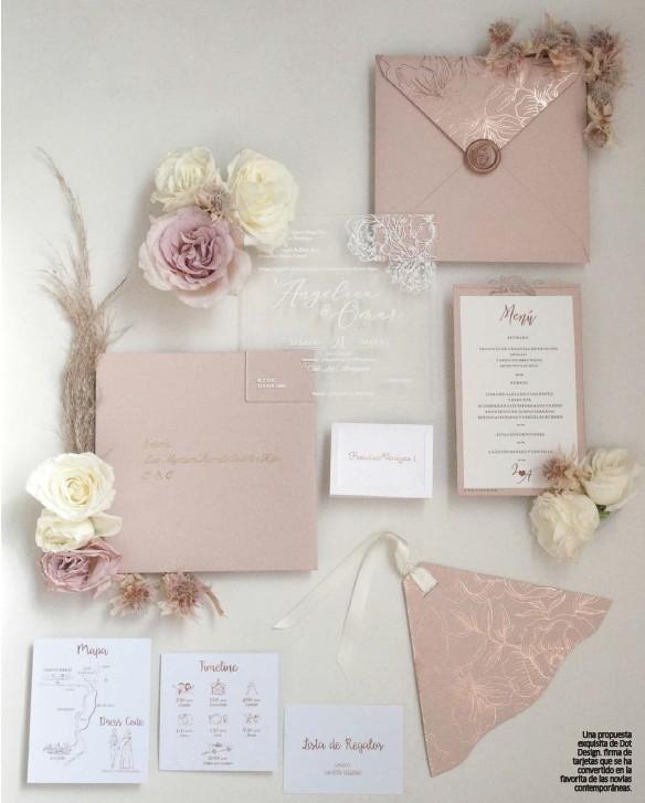 ??  ?? Una propuesta exquisita de Dot Design. firma de tarjetas que se ha convertido en la favorita de las novias contemporáneas.
