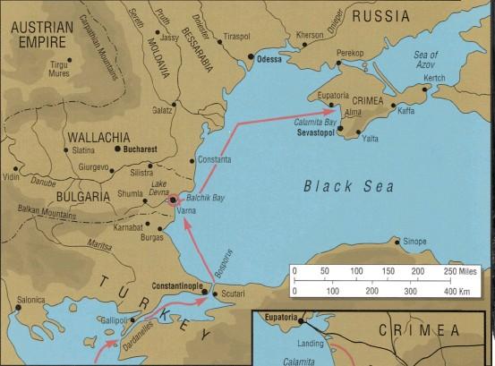 ?? Kart: Osprey Publishing ?? Oversiktskart over Svartehavet og ruten den engelsk-franske ekspedisjonen tok for å komme til Krim.
