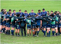 ?? PHOTO: PHOTOSPORT ?? The Crusaders huddle at Rugby Park after the captain's run was shifted off AMI Stadium yesterday.