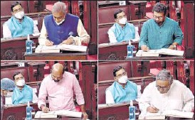 ?? ANI ?? (From left, clockwise): Mahesh Jethmalani, John Brittas, Swapan Dasgupta and Dr V Sivadasan take oath as members of the Rajya Sabha in New Delhi on Tuesday.
