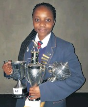 ??  ?? Aphiwe Nene (Gr11) took the history subject prize, as well as a multitude of sport awards including Best All-Round Senior Girls Cricketer, Hockey Player of the Year and the Senior Girls' Top Sport Achievement Trophy