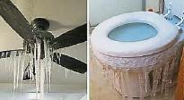 """??  ?? 民众在网上分享寒流下的生活,指家中不少家具都被""""冻结"""",家中的吊扇结成一根根的冰柱,连马桶附近都出现大大小小的冰柱。(互联网照片)"""