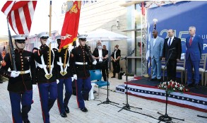 ?? (David Azagury/US Embassy Jerusalem) ?? PRIME MINISTER Naftali Bennett, US Rep. Gregory Meeks (left) and US Chargé d'Affaires Michael Ratney inspect the guard at a US Independence Day ceremony in Jerusalem last night.