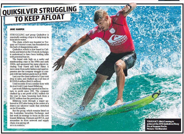 ?? Picture: Tim Marsden ?? TOUGH ACT: Mick Fanning in action at the 2015 Quiksilver/Roxy Pro at Snapper Rocks.