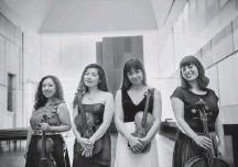 ?? ERICA LYN ?? Aizuri Quartet (from left, violinist Miho Saegusa, violist Ayane Kozasa, violinist Ariana Kim and cellist Karen Ouzounian) closed National Museum of Women in the Arts' series with a strong program. this new music expertly, as they did for Lembit...