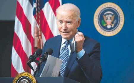 ?? AFP ?? Joe Biden, in Washington on Friday, ordered the strike on Iranian-backed militias in response to missile attacks on US facilities