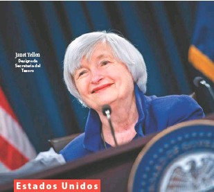 ??  ?? Janet Yellen Designada Secretaria del Tesoro