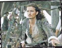 ??  ?? роль в блокбастере Орландо Блум сыграл главную «Пираты Карибского моря»